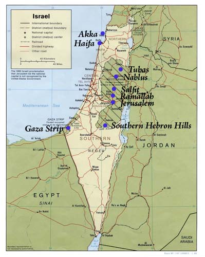 map of israel. Text :: Map